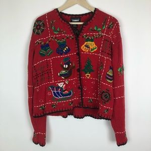 80s VINTAGE  CHRISTMAS SWEATER L